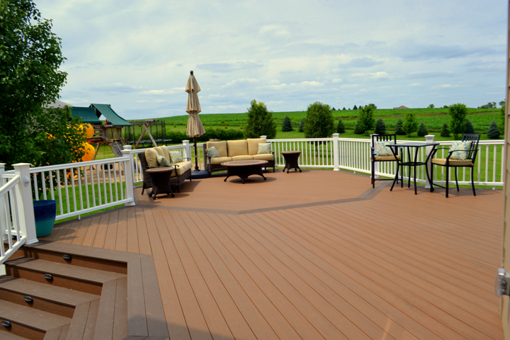 TimberTech Terrain Deck in Brown Oak with Rustic Elm Accents & RadianceRail in White